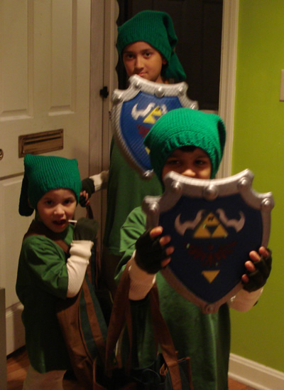 L - R: Sweet Coco, Kamikaze, and Tremendo dressed as Link and wearing their Mommy made hats.