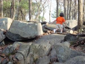 little boy hiking